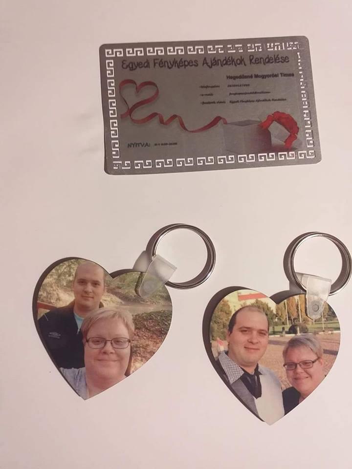 Mdf, szív alakú kulcstartó- két oldalas